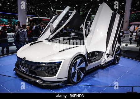 FRANKFURT - SEPT 2015: Volkswagen VW Golf Sport presented at IAA International Motor Show on September 20, 2015 in Frankfurt, Germany - Stock Photo