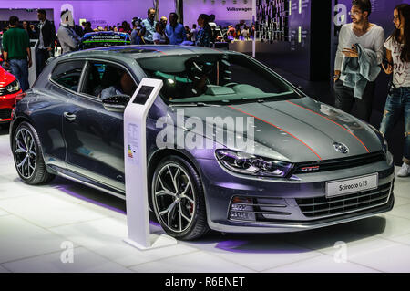 FRANKFURT - SEPT 2015: Volkswagen VW Scirocco GTS presented at IAA International Motor Show on September 20, 2015 in Frankfurt, Germany - Stock Photo