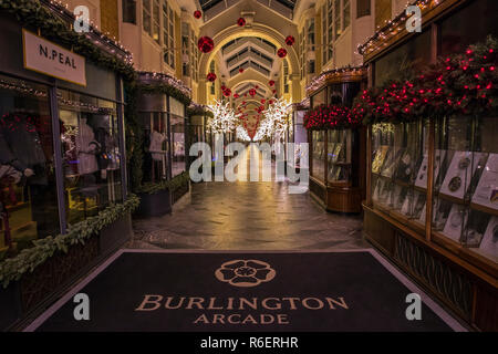 London, UK - December 4th 2018: A view of the beautiful Burlington Arcade in Mayfair, London, decorated with Christmas decorations. - Stock Photo