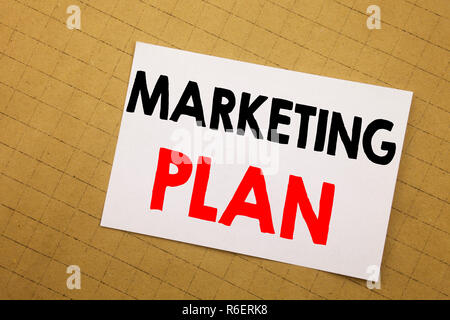Conceptual hand writing text caption inspiration showing Marketing Plan. Business concept for Planning Successful Strategy Written on sticky note yellow background. - Stock Photo
