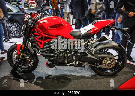 FRANKFURT - SEPT 2015: Ducati Streetfighter 848 presented at IAA International Motor Show on September 20, 2015 in Frankfurt, Germany - Stock Photo