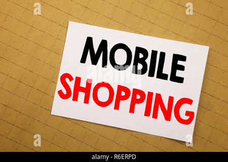Conceptual hand writing text caption inspiration showing Mobile Shopping. Business concept for Cellphone online order Written on sticky note yellow background. - Stock Photo