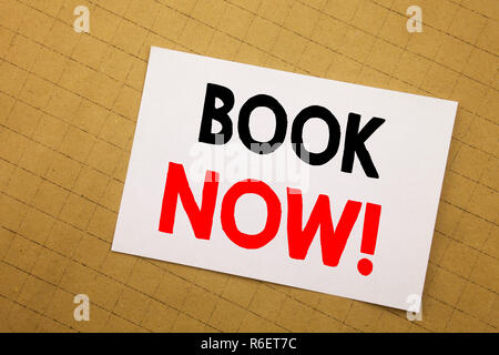 Conceptual hand writing text caption inspiration showing Book Now. Business concept for Reservation Booking Written on sticky note yellow background. - Stock Photo