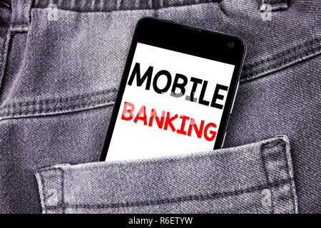 Conceptual hand writing text caption showing Mobile Banking. Business concept for Internet Banking e-bank written mobile cell phone with copy space in the back pants trousers pocket - Stock Photo