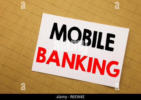 Conceptual hand writing text caption inspiration showing Mobile Banking. Business concept for Internet Banking e-bank Written on sticky note yellow background. - Stock Photo