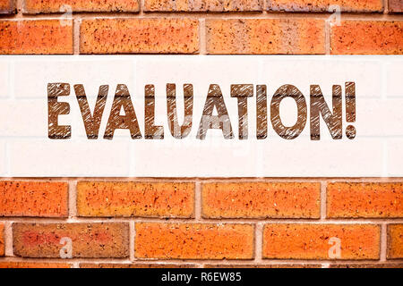 Conceptual announcement text caption inspiration showing Evaluation. Business concept for Assessment Employee Performance Feedback  written on old brick background with copy space - Stock Photo