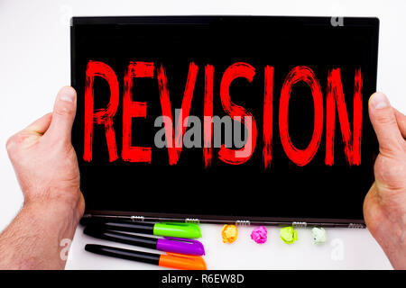 Revision text written on tablet, computer in the office with marker, pen, stationery. Business concept for Repeat Repetition Education Material for Exam white background with copy space - Stock Photo