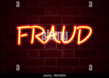 Fraud neon sign on brick wall background. Fluorescent Neon tube Sign on brickwork Business concept for Fraud Crime Business Scam 3D rendered - Stock Photo