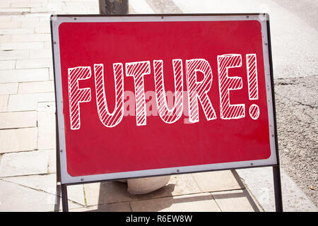 Conceptual hand writing text caption inspiration showing Future. Business concept for The Time That Is To Come Beginning From Now written on announcement road sign with background and copy space - Stock Photo