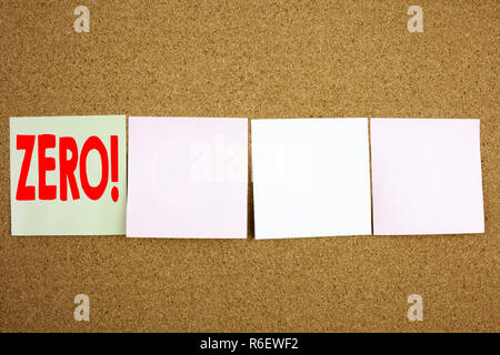 Conceptual hand writing text caption inspiration showing Zero Business concept for Zero Zeros Nought Tolerance on the colourful Sticky Note close-up background with copy space - Stock Photo
