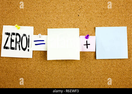 Conceptual announcement text caption inspiration showing Zero Business concept for Zero Zeros Nought Tolerance written on Sticky Note on cork background with copy space - Stock Photo