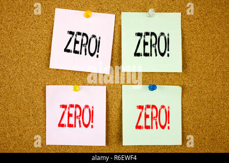 Conceptual hand writing text caption inspiration showing Zero Business concept for Zero Zeros Nought Tolerance on the colourful Sticky Note close-up - Stock Photo