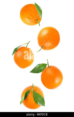 Falling whole orange with leaf isolated on white - Stock Photo