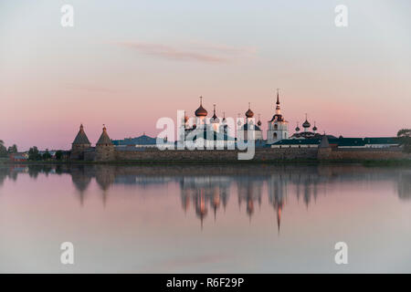 View of Solovetsky monastery in summer sunrise - Stock Photo