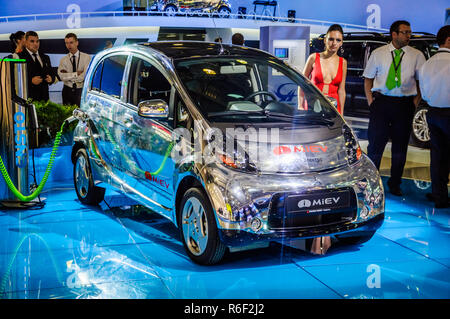 MOSCOW, RUSSIA - AUG 2012: Mitsubishi i-MiEV 49 kW CVT ES presented as world premiere at the 16th MIAS (Moscow International Automobile Salon) on Augu - Stock Photo