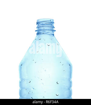 PLastic bottle in blue color against white background - Stock Photo