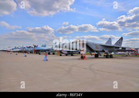 MOSCOW, RUSSIA - AUG 2015: interceptor aircraft MiG-31 Foxhound presented at the 12th MAKS-2015 International Aviation and Space Show on August 28, 20 - Stock Photo