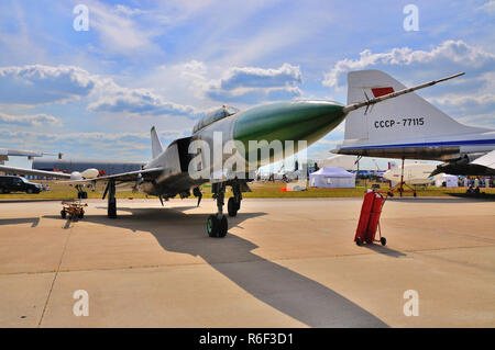 MOSCOW, RUSSIA - AUG 2015: supersonic interceptor Su-15 Flagon presented at the 12th MAKS-2015 International Aviation and Space Show on August 28, 201 - Stock Photo