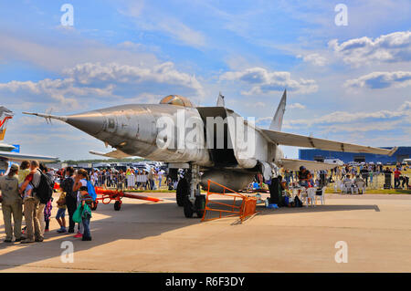 MOSCOW, RUSSIA - AUG 2015: supersonic interceptor MiG-25 Foxbat presented at the 12th MAKS-2015 International Aviation and Space Show on August 28, 20 - Stock Photo