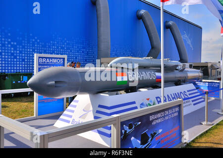 MOSCOW, RUSSIA - AUG 2015: supersonic cruise missile BrahMos presented at the 12th MAKS-2015 International Aviation and Space Show on August 28, 2015  - Stock Photo