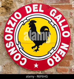 Square close up of the iconic black rooster sign in Italy. - Stock Photo