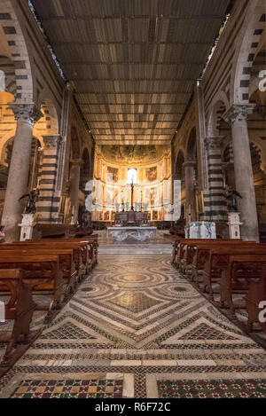 Vertical view inside Pisa Cathedral in Pisa, Tuscany. - Stock Photo