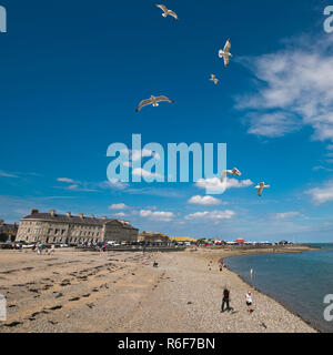 Square view of the beach at Beaumaris on Anglesey. - Stock Photo