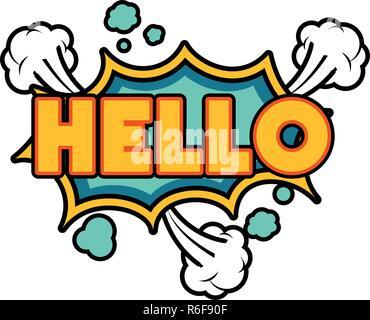 hello comic words in speech bubble isolated icon - Stock Photo
