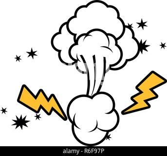 clouds with comic thunder isolated icon - Stock Photo