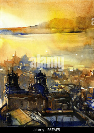 Watercolor painting of 18th century Baroque cathedral in Puno, Peru on Lake Titicaca at sunrise - Stock Photo
