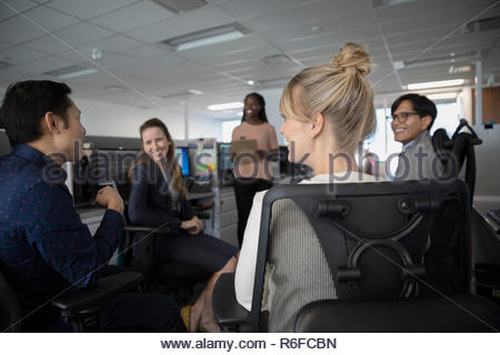 Business people working, meeting in call center - Stock Photo