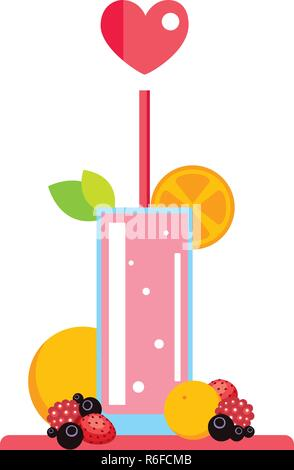 Fresh summer drink Smoothie Juice Cocktail with fruits and berries Vector illustration - Stock Photo