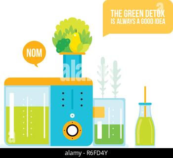 Making fresh healthy organic smoothie juice Kitchen appliance Juicer Blender Vector illustration - Stock Photo