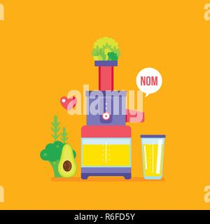 Juicer and fresh fruits greens vegetables Colorful healthy food banner Vector illustration - Stock Photo