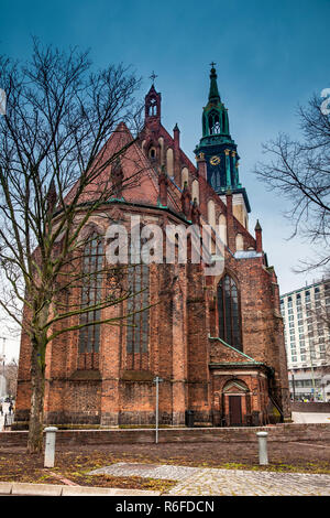 The historical and beautiful St. Mary's Church located in central Berlin on a cold end of winter day - Stock Photo