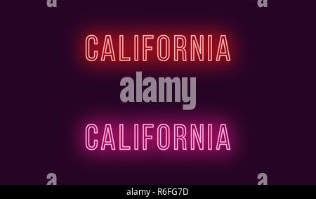 Neon name of California state in USA. Vector text of California, Neon inscription with backlight in Thin style, red and pink colors. Isolated glowing
