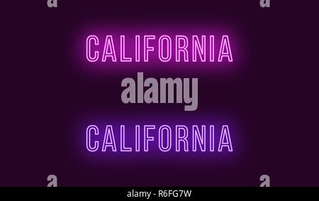 Neon name of California state in USA. Vector text of California, Neon inscription with backlight in Thin style, purple and violet colors. Isolated glo