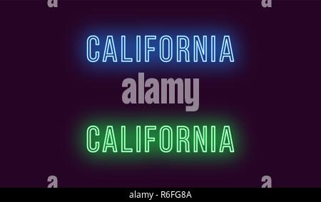 Neon name of California state in USA. Vector text of California, Neon inscription with backlight in Thin style, blue and green colors. Isolated glowin