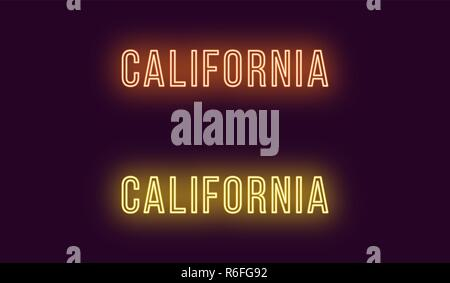 Neon name of California state in USA. Vector text of California, Neon inscription with backlight in Thin style, orange and yellow colors. Isolated glo Stock Photo