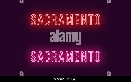 Neon name of Sacramento city in USA. Vector text of Sacramento, Neon inscription with backlight in Thin style, red and pink colors. Isolated glowing t