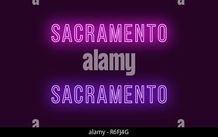 Neon name of Sacramento city in USA. Vector text of Sacramento, Neon inscription with backlight in Thin style, purple and violet colors. Isolated glow