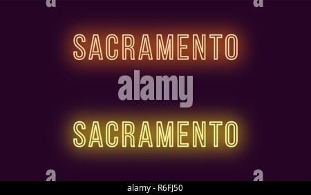Neon name of Sacramento city in USA. Vector text of Sacramento, Neon inscription with backlight in Thin style, orange and yellow colors. Isolated glow Stock Photo
