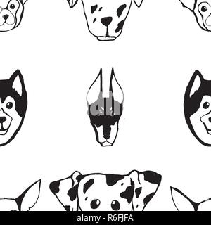 Seamless pattern with Dog breeds. Bulldog, Husky, Alaskan Malamute, Retriever, Doberman, Poodle, Pug, Shar Pei, Dalmatian - Stock Photo