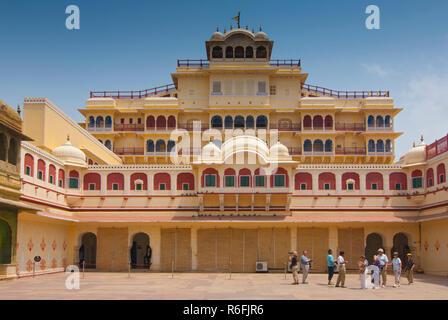 Chandra Mahal Seen From Pitam Niwas Chowk, Jaipur City Palace, Rajasthan, India - Stock Photo
