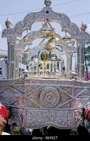Silver chariot, Mahavir Jayanti Procession, Jabalpur, Madhya Pradesh, India - Stock Photo