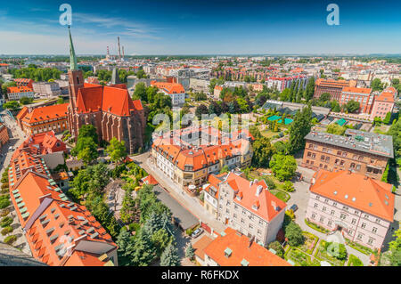 Panoramic View Of The Old City From St Johns Cathedral Tower, Cathedral Island, Wroclaw, Poland - Stock Photo