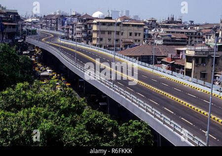 flyover fly over bridge near J.J.hospital, bombay mumbai, maharashtra, india - Stock Photo