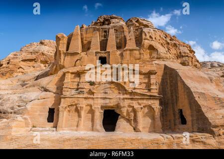 The Obelisk Tomb And Bab As-Siq Triclinium At The Ancient Nabataean City Of Petra, Jordan - Stock Photo