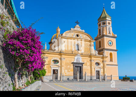 The Renaissance San Gennaro Church In The Center Of The Town Of Praiano On Italy'S Amalfi Coast - Stock Photo