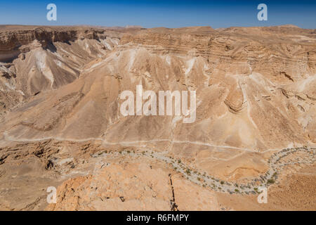 View Of Surrounding Land And The Dead Sea From Masada, An Ancient Jewish Fortress In The Desert Of Israel - Stock Photo